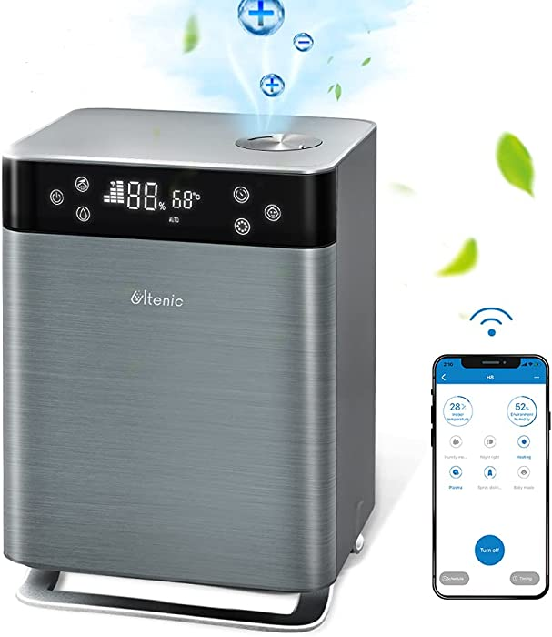 Ultenic H8 Smart Humidifiers for Bedroom, 4.3L Warm & Cool Mist, Top-Filling, APP Control, Works with Alexa, Ultrasonic Air Humidifier with Essential Oil Diffuser for Large Room, Baby, Whole House