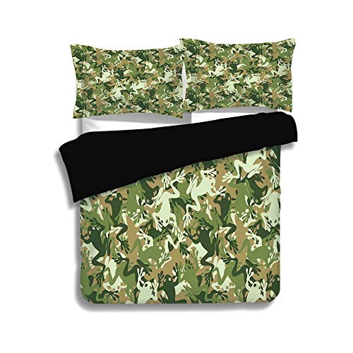 Pine Waterbeds (Black Duvet Cover Set Queen Size,Animal Decor,Skull Camouflage Military Design with Various Frog Pattern Different Tones ArtPrint,Sage Pine Green,Decorative 3 Pcs Bedding Set by 2 Pillow Shams)