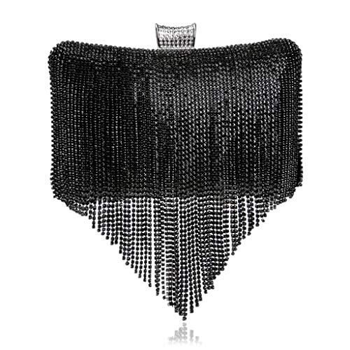 Bags Gifts Dresses Luxurious JUZHIJIA Fashion Celebrities Black Fringes Night Handbags Shoulder B0SwBz