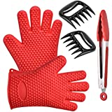 Kitchen & BBQ Grilling Tool Set - Wosweet Silicone Heat Resistant Cooking Gloves With Tongs & Bear Claw - Use as BBQ Meat Turner or Oven Mitts