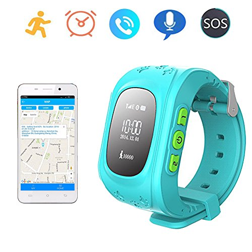 Smart Watch GPS Tracker for Children Two Way Communication GPS LBS AGPS Location Student/Kids with Pedometer Fitness Q50 (Lake Blue)