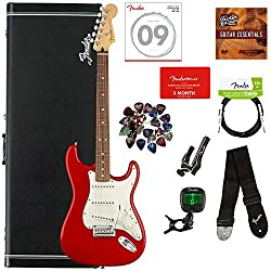 Fender Player Stratocaster, Pau Ferro - Sonic Red Bundle with Hard Case, Cable, Tuner, Strap, Strings, Picks, Capo, Fender Play Online Lessons, and Austin Bazaar Instructional DVD