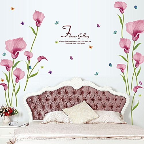 Clest F&H Calla Lily Flowers Wall Art Stickers Removable Mural Vinyl Decal TV Sofa Living Room Backdrop Wallpaper Home Decoration
