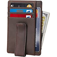Beartwo RFID Blocking Minimalist Genuine Leather Money Clip Wallet