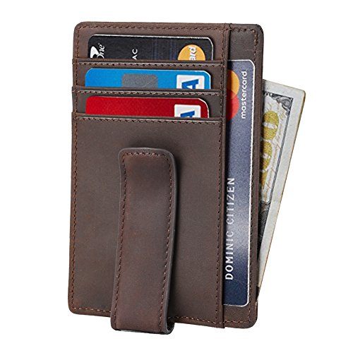 Beartwo RFID Blocking Minimalist Genuine Leather Money Clip Wallet Slim Front Pocket Wallet Credit Card Holder with ID Window ()