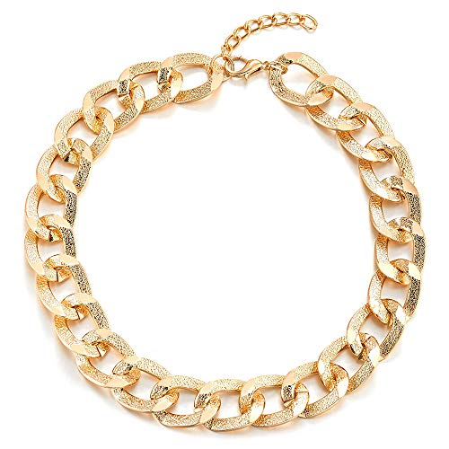 COOLSTEELANDBEYOND Gold Color Statement Necklace, Textured Circles Link Chain Large Collar, Party Dress, Light Weight