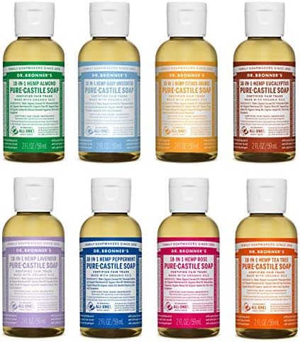 Dr. Bronner's 2 Ounce Sampler- 8 Piece Gift Set. 8, 2 Ounce Castile Liquid Soaps in Almond, Unscented, Citrus, Eucalyptus, Tea Tree, Lavender, Rose, and Peppermint