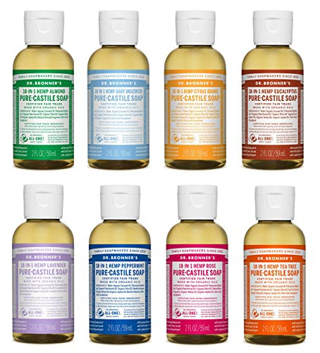 Dr. Bronner s 2 Ounce Sampler- 8 Piece Gift Set. 8, 2 Ounce Castile Liquid Soaps in Almond, Unscented, Citrus, Eucalyptus, Tea Tree, Lavender, Rose, and Peppermint