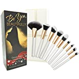 ULTIMATE 8 Piece KABUKI Makeup Brush Set With Designer Case plus BONUS Fan Brush. Hand-Made Powder, Foundation, Buffing, Concealer, Blending Brushes and More. Professionally Endorsed.