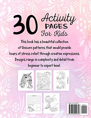 Unicorn Activity Book for Kids Ages 4-8: A Fun Kid Workbook Game For Learning, Coloring, Dot To Dot, Mazes, Word Search…