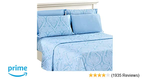 1daf5fcc89 Lux Decor Collection Bed Sheet Set - Brushed Microfiber 1800 Bedding -  Wrinkle, Stain and Fade Resistant - Hypoallergenic - 6 Piece (Queen, Paisley  Blue)