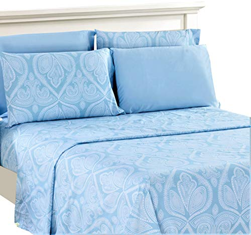 Lux Decor Collection Bed Sheet Set - Brushed Microfiber 1800 Bedding - Wrinkle, Stain and Fade Resistant - Hypoallergenic - 6 Piece (Queen, Paisley Blue)