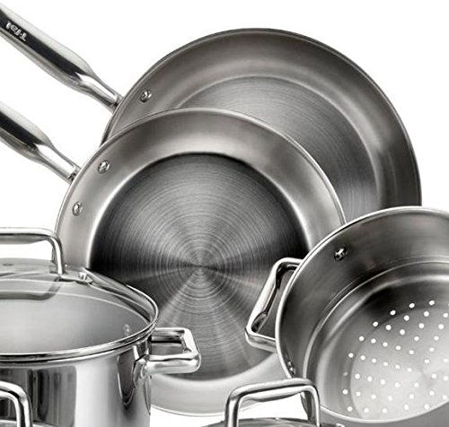 T-fal E469SC Tri-ply Stainless Steel Multi-clad Dishwasher Safe Oven Safe Cookware Set, 12-Piece, Silver by T-fal (Image #5)