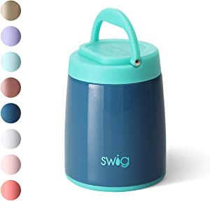 Swig Life 14oz Hot Pot Triple Insulated Food Container, Dishwasher Safe, Double Wall, Vacuum Sealed Thermos Food Jar for Hot Food and Cold Food in Glossy Denim (Multiple Patterns Available)