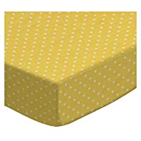SheetWorld Fitted Crib / Toddler Sheet - Primary Pindots Yellow Woven - Made ...