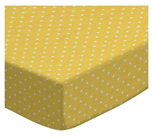 SheetWorld Extra Deep Fitted Portable Mini Crib Sheet - Primary Pindots Yellow Woven - Made In USA by SHEETWORLD.COM