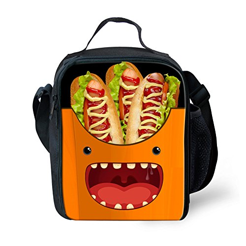 Emoji Lunch Closed Nopersonality with Double Zipper Food Kids Container Cute Strap Small Fries Girls French Orange Print Lunchbox Bag For Shoulder 5wHx0qwF