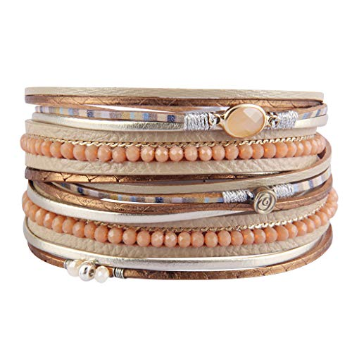 Bfiyi Leather Wrap Bracelet Casual Crystal Cuff Bracelet Multilayer Braided Bracelets Bohemian Jewelry Handmade Gifts for Women, Teens Girls, Sister, Wife, Mother (Closure Crystal Magnetic)