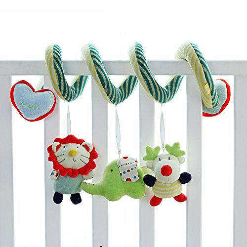 SHILOH Crib toy Kid Infant Baby Activity Spiral Wrap Around Crib Bed Bassinet Stroller Rail Toy, Lion Giraffe Elephant