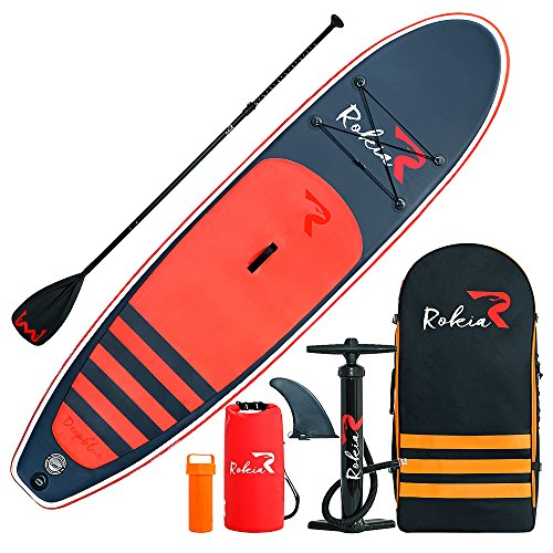 ROKIA 10'6' Inflatable SUP Stand Up Paddle Board (6' Thick) iSUP for Fitness, Yoga, Fishing on Flat Water, Orange