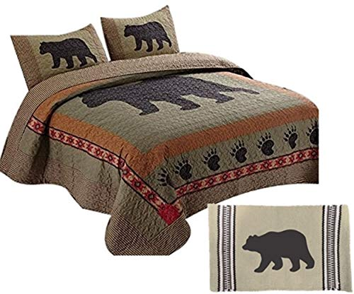 (4pc Country Cabin Southwest Lodge Style BLACK BEAR & PAW King Size Quilt Set + 24