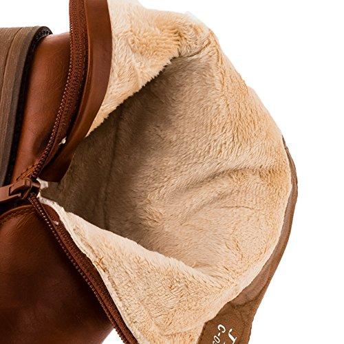 Jili Mädchen Boots Stiefel mit Reissverschluss Winter Schuhe Stiefelette #252te Terrakotta