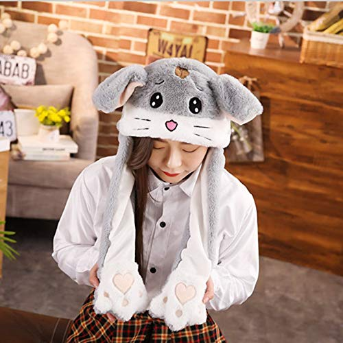 GOOGEE Unicorn Plush Hat - Cuddly Moving Ear Plush Unicorn Hat Soft Hamster Hat Dance Plush Toy for Gift - Grey Hamster - Cowboy Party Stocking Kit White Kid Beanie -