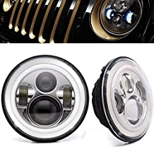 AUSI CHROME 7Inch Round Led Headlight Halo Angel Eye Ring DRL Amber Turn Signal Lights Fit 97-15 Jeep Wrangler TJ JK LJ CJ Hummer H1 H2 MACK R Peterbilt Kenworth Freightliner Harley Davidson 60W