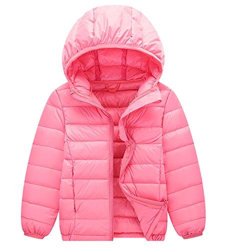 Kids Hooded Coat Winter Warm Down Jacket Lightweigt Zipper Outwear