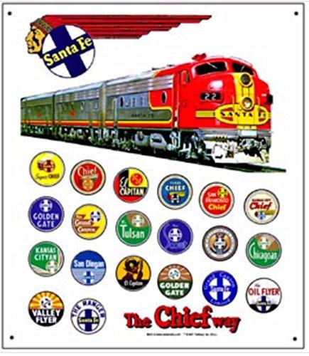 RR Railroad Tin Sign - Santa Fe Heritage AT & SF