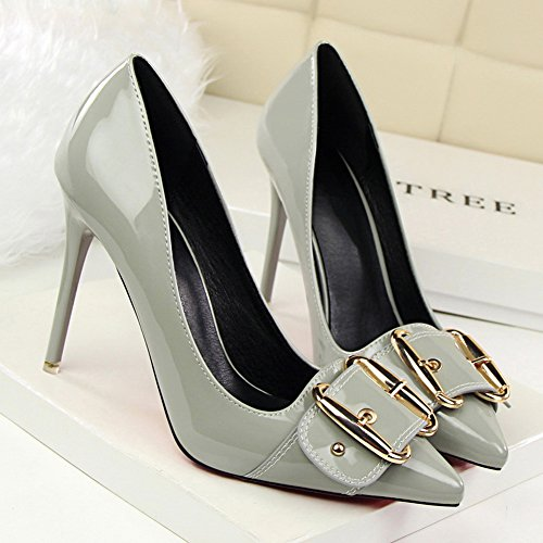 Sexy Gray Metal Stiletto Leather Buckle fereshte Patent Simple High Pointed Pumps Toe Heels Women's vwXqpO