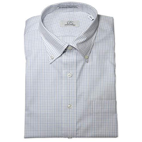 - COOPER & STEWART Big & Tall Non-Iron Tattersall Button-Down Collar Dress Shirt | Blue Lavender 20 x 34/35 Big