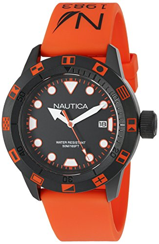 - Nautica Unisex NAD10077G NSR 100 FLAG Analog Display Quartz Orange Watch
