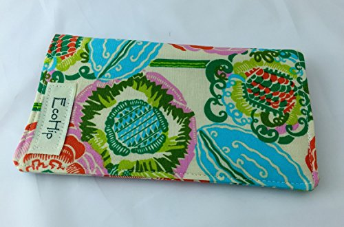 Duplicate Checkbook Cover Register with Pen Holder - Amy Butler Bright Heart Coco Bloom in Bisque