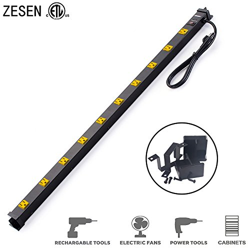 ZESEN 10 Outlet Metal Surge Protector Power Strip with 4ft Heavy Duty Cord, 125V/15A, ETL (Multi Outlet Strip)