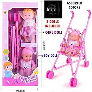 FRATELLI Exclusive Baby DOLLCOLLECTION (Toy Stroller-PRAM with 2 Baby Dolls)