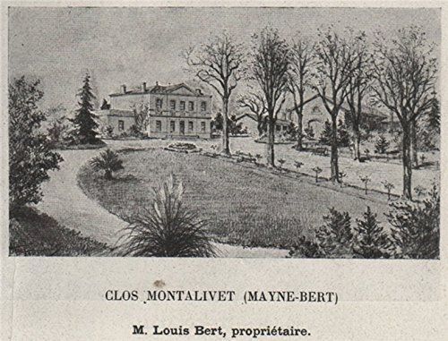 Les Vins Blancs - GRANDS VINS BLANCS. BARSAC. Glos Montalivet (Mayne-Bert). Bert. SMALL - 1908 - old print - antique print - vintage print - Gironde art prints