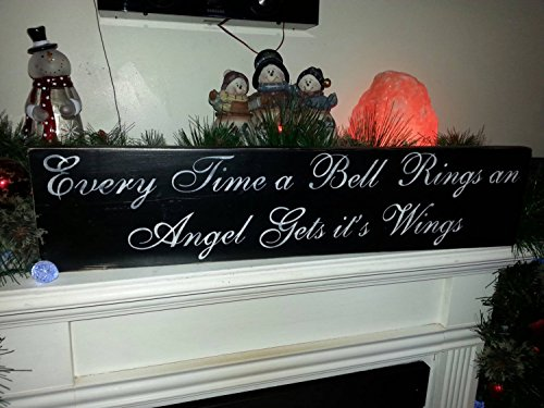 Angel Shelf Sitters - Wood Sign Every Time a Bell Rings Distressed Primitive Painted Reversible Shelf Sitter An Angel Gets Its Wings Its a Wonderful Life Quote