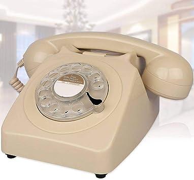 Vintage Teléfono Antiguo,Estilo Americano Retro Teléfono Oficina Hogar Creativa Disco Giratorio Moda Sobremesa TeléFono Fijo con Mecánica Tonos De Llamada Rellamada Función-F: Amazon.es: Electrónica