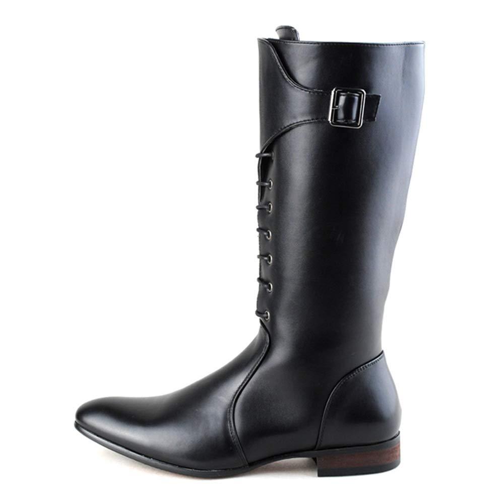 MXNET European Fashion Kniehohe Stiefel, PU Leder Seitlicher Reißverschluss Schnürung Kampfschuhe Für Männer (Farbe   Schwarz, Größe   43 EU)