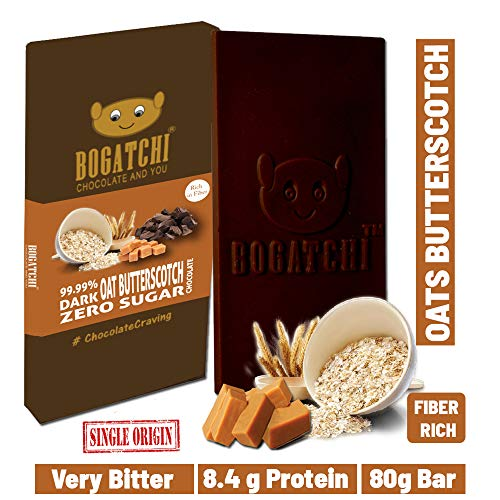 BOGATCHI Oats 99.99% Dark Healthy Chocolate Bar with Butterscotch, Low Carbs, Keto Chocolate, 80g