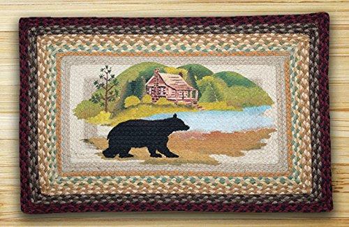 Earth Rugs PP-Cabin Bear Print Braided Rug, 20 x 30