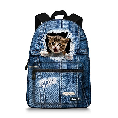 JBS-NO.1 School Backpack Canvas Cowboy style Small Cats Laptop Daypack Student