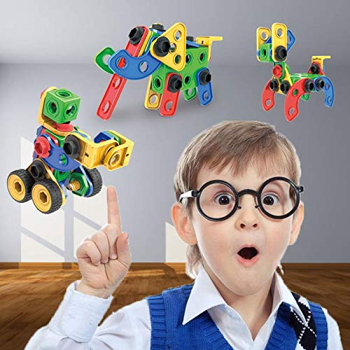 STEM Toy Building Blocks Set Limei Construction Toy DIY Building Bricks Educational Toy Learning for Kids Children Toddlers Girls Boys(105Pcs)