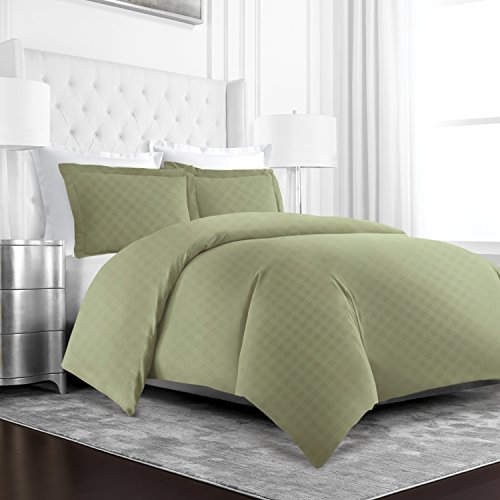 (Beckham Hotel Collection Luxury Soft Brushed Microfiber Duvet Cover Set with Embossed Diamond Pattern - Twin/TwinXL - Sage)