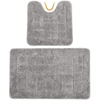 HEBE Bath Rugs Set of 2 Non Slip Microfiber Bathroom Contour Rug Combo Set Washable Bath Shower Mat with U-shaped Toilet Rug Absorbent(21x34+20x20, Grey)