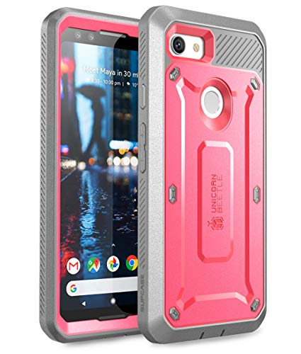 SUPCASE Unicorn Beetle Pro Series Case for Google Pixel 3, Full-Body Rugged Holster Case with Built-in Screen Protector for Google Pixel 3 2018 Release - Retail Package (Pink)