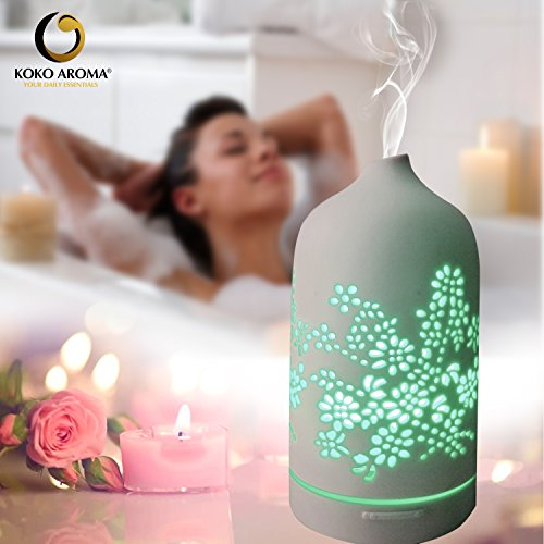 KOKO AROMA Diffuser Aromatherapy Humidifier: Floral Ceramic 7 Cool Defuser Auto Office Bedroom Baby Yoga