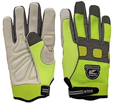 Gatorback 635 High Visibility Goat Skin Leather Work Gloves. Professional Safety Work Gloves For Electricians, Carpenters, Framers, Contractors