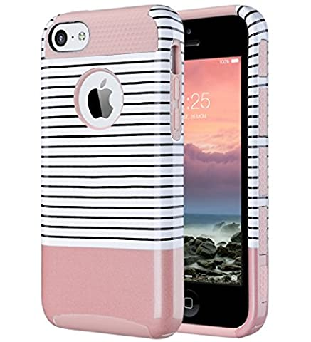 iPhone 5C Case, ULAK Slim Lightweight 2in1 iPhone 5C Cases Hybrid with Soft Rugged TPU Inner Skin and Hard PC Anti Scratches Protective Cover for Apple iPhone 5C-Minimal Rose (Pink Iphone 5c Phone Case)